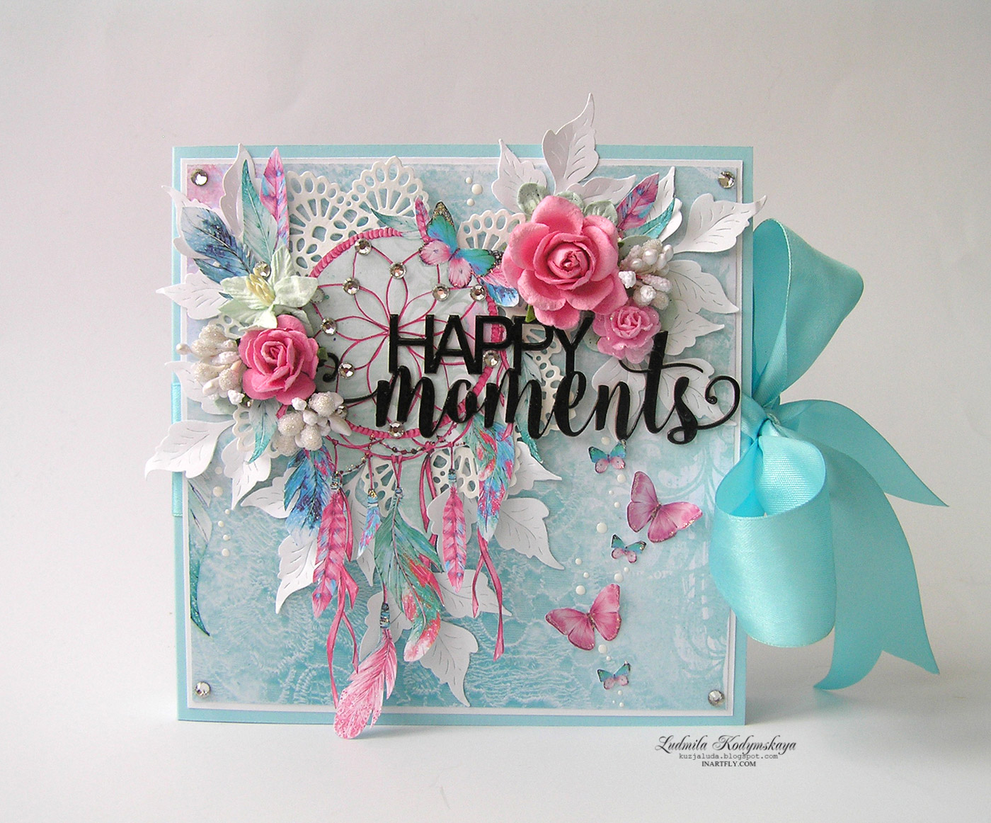 Pink turquoise album Happy moments